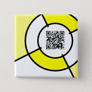 yellow bullseye QR code Pinback Button