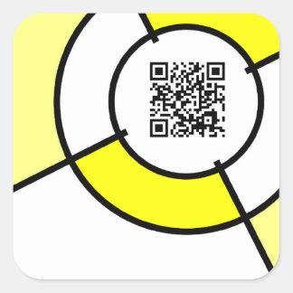 yellow bullseye QR code Square Sticker