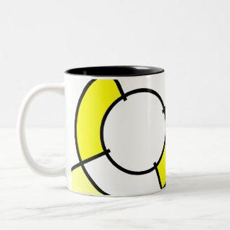 yellow bullseye Two-Tone coffee mug