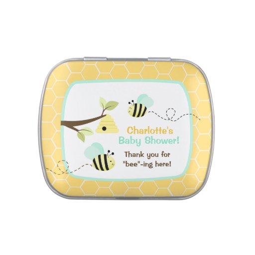 Yellow Bumble Bee Custom Jelly Bean Tin (Blue) Candy Tins