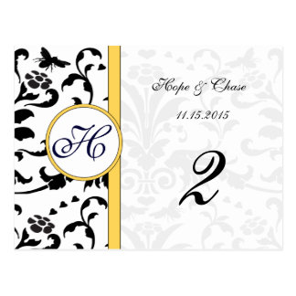 Yellow Bumble Bee Damask Swirls Table Number Cards