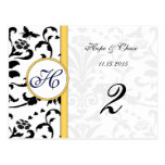 Yellow Bumble Bee Damask Swirls Table Number Cards Post Cards