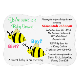 Yellow Bumble Bee Pink Blue Rattles Baby Shower Custom Invite