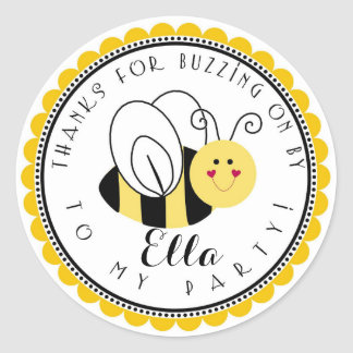Yellow Bumblebee Birthday Party Favor Stickers