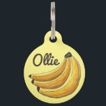 "Yellow Bunch of Bananas Banana Fruit Foodie Pet Name Tag<br><div class=""desc"">Pet tag features an original marker illustration of a bunch of yellow bananas. Simply personalize with your pet&#39;s name and your contact information for a one-of-a-kind dog or cat tag. Lots of additional illustrations are available from this shop. Don&#39;t see what you&#39;re looking for? Need help with customization? Contact Rebecca...</div>"
