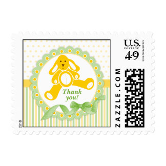 Yellow Bunny Baby Thank You Postage Stamps