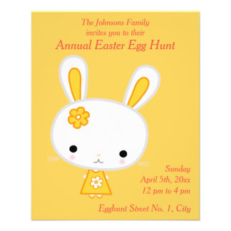 Yellow Bunny Easter Egg Hunt Invitations Flyer