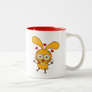 Yellow bunny feeling madly in love Two-Tone coffee mug