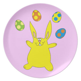 Yellow Bunny Juggling Easter Eggs Cute Plate