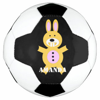 Yellow bunny personalized soccer ball