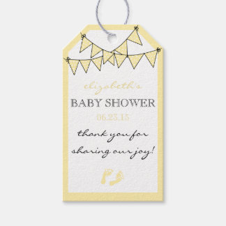 Yellow Bunting Flags Baby Shower Thank You Gift Tags