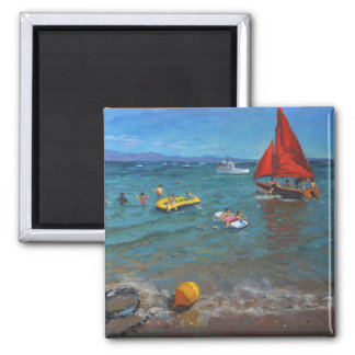 Yellow Buoy and Red Sails Abersoch 2 Inch Square Magnet