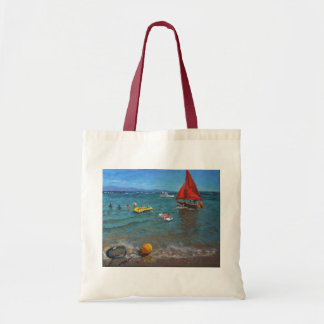 Yellow Buoy and Red Sails Abersoch Budget Tote Bag