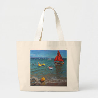 Yellow Buoy and Red Sails Abersoch Jumbo Tote Bag