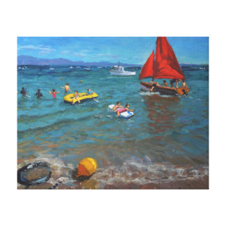 Yellow Buoy and Red Sails Abersoch Canvas Print