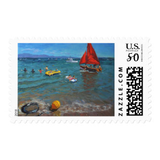 Yellow Buoy and Red Sails Abersoch Postage