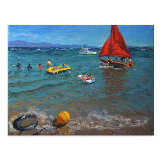 Yellow Buoy and Red Sails Abersoch Postcard
