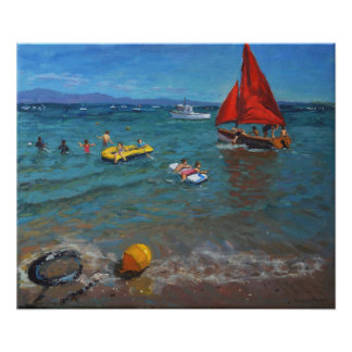 Yellow Buoy and Red Sails Abersoch Poster