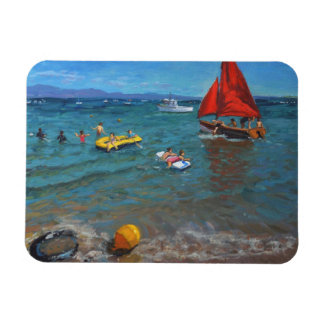 Yellow Buoy and Red Sails Abersoch Rectangular Photo Magnet