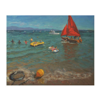 Yellow Buoy and Red Sails Abersoch Wood Wall Decor