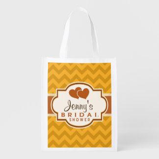 Yellow, Burnt Orange Chevron Bridal Shower Reusable Grocery Bag