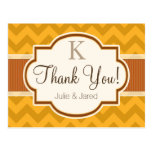 Yellow, Burnt Orange Chevron Stripes Thank You Postcard