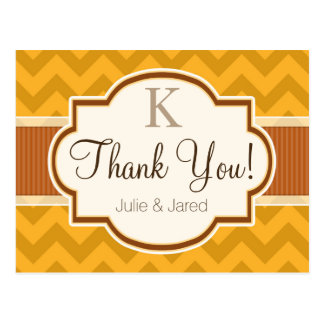Yellow, Burnt Orange Chevron Stripes Thank You Postcard