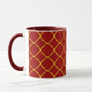 Yellow & Burnt Red Quatrefoil Mug