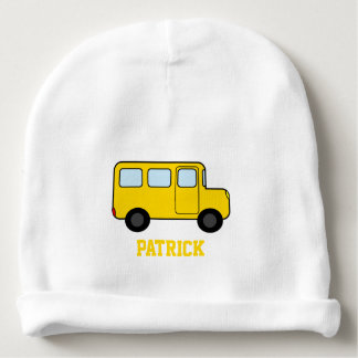 Yellow Bus Custom Name Baby Beanie