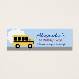 Yellow Bus Transportation Birthday Favor Tag