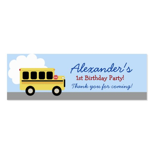 Yellow Bus Transportation Birthday Favor Tag Business Card Templates ...