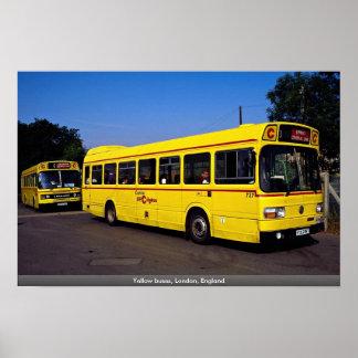 Yellow buses, London, England Poster