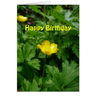 Yellow Buttercup Flower Birthday Template Greeting Card