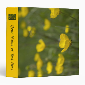 Yellow Buttercup Flowers 3 Ring Binders