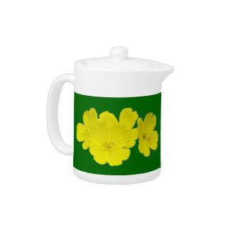 Yellow Buttercup Flowers on Green Tea pot
