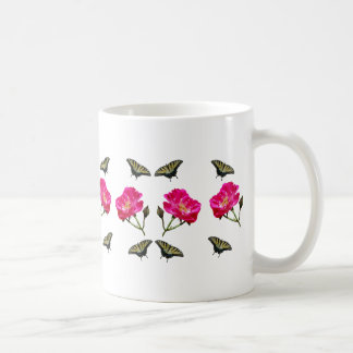 Yellow Butterflies and Pink Roses Coffee Mug