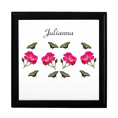 Yellow Butterflies and Pink Roses Gift Boxes