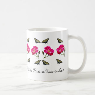 Yellow Butterflies and Pink Roses Mom-in-law Mugs