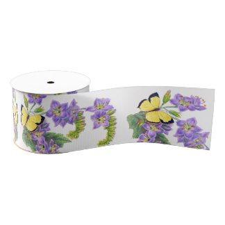 Yellow Butterflies Floral Flowers Ribbon