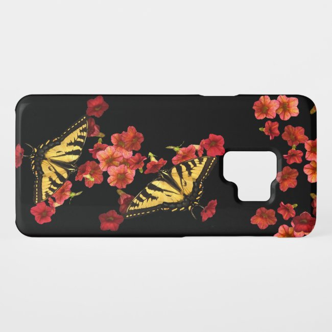 Yellow Butterflies on Red Flowers Galaxy S9 Case
