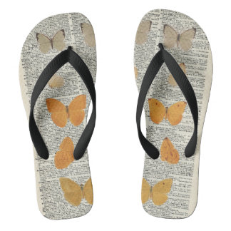 Yellow Butterflies Over Dictionary Book Page Flip Flops