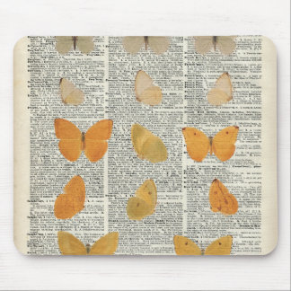 Yellow Butterflies Over Dictionary Book Page Mouse Pad