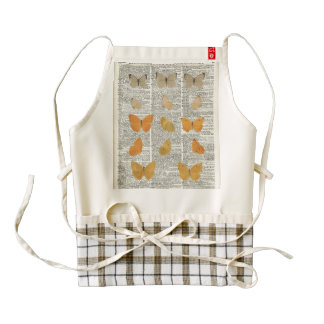 Yellow Butterflies Over Dictionary Book Page Zazzle HEART Apron