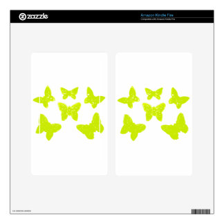 Yellow Butterflies Pattern Decals For Kindle Fire