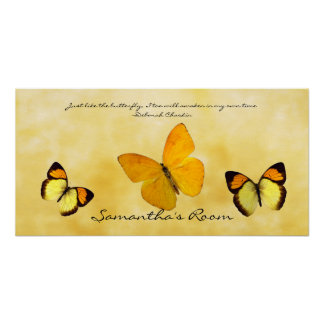Yellow Butterflies Personalized Quote and Name Poster