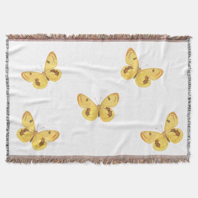 Yellow Butterflies Vintage Fine Art Throw Blanket
