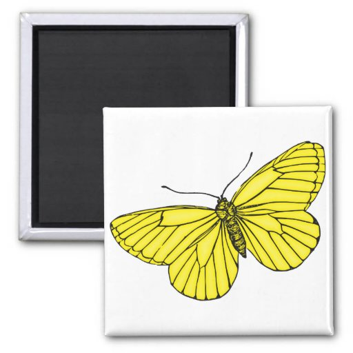 Yellow Butterfly 2 Inch Square Magnet