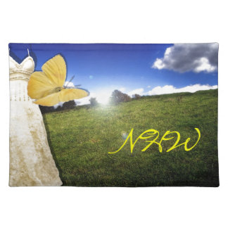Yellow Butterfly and Dress Custom Monogram Place Mats