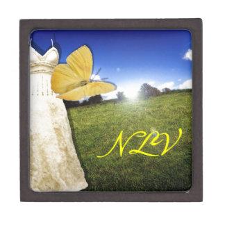 Yellow Butterfly and Dress Custom Monogram Premium Keepsake Boxes