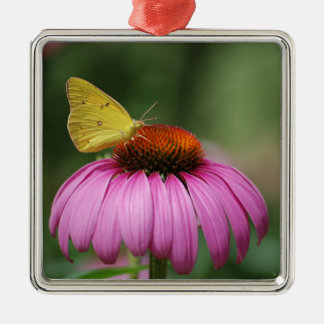 yellow butterfly and flower metal ornament